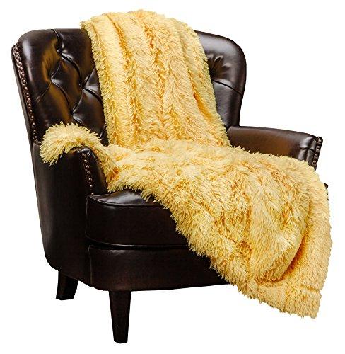 Chanasya Super Soft Shaggy Longfur Throw Blanket | Snuggly Fuzzy Faux Fur Lightweight Warm Elegant Cozy Plush Sherpa Microfiber Blanket | for Couch Bed Chair Photo Props - 50x 65 - Yellow