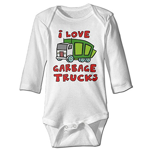 Baby Bodysuit Garbage Truck One Piece Baby Long Sleeve Neborn Jumpsuit 18 Months White