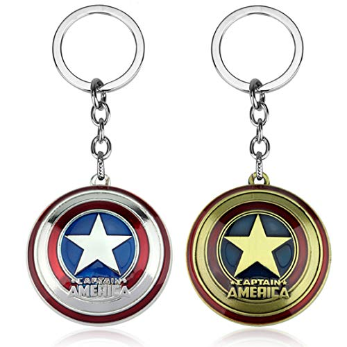 2 PCS Pop Marvel Cute Captain America Shield Keychain Metal Decor Men keyring Pendant Charms Gifts for Best Friend/collections
