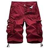 iZHH Men's Pure Color Outdoors Pocket Beach Work Trouser Cargo Shorts Pant(Wine Red,40)