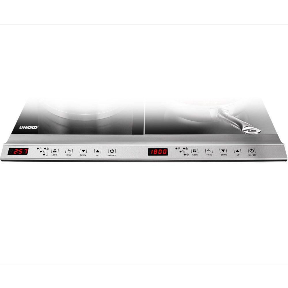 In Design; Unold 58175 Doppel-kochplatten Edelstahl-schwarz 3500 W 12 Leistungsstufen Novel