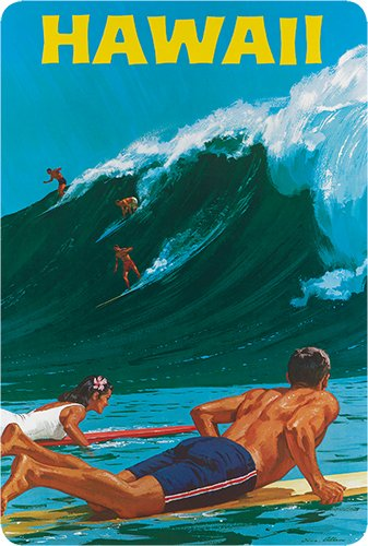 Hawaiian Vintage Postcards Pack of 30 - Hawaii Big Wave Surfing by Chas Allen