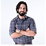 This Is Us (TV Series 2016 - ) 8 inch x 10 inch Photo Milo Ventimiglia Arms Crossed Over Blue Plaid Shirt Smiling w/Light Blue Background kn