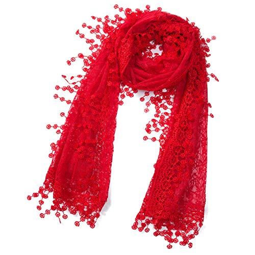 Cindy and Wendy Lightweight Soft Leaf Lace Fringes Scarf shawl for Women (Red-2)