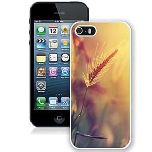 NEW Unique Custom Designed iPhone 5S Phone Case With Wheat Plant Closeup Warm Colors_White Phone Case