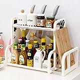 Multi - Purpose Shelf Stainless Steel Skeleton 2 - Layer Storage Shelf Kitchen Seasoning Bottle Rack Chopping Block Frame ( Color : White )