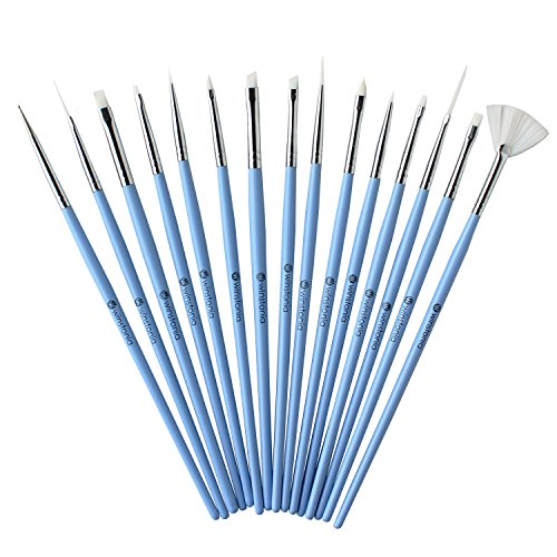 Winstonia 15 pcs Assorted Nail Brushes Set 'Something Blue' for Nail Art Creation, Gel and Acrylic Application