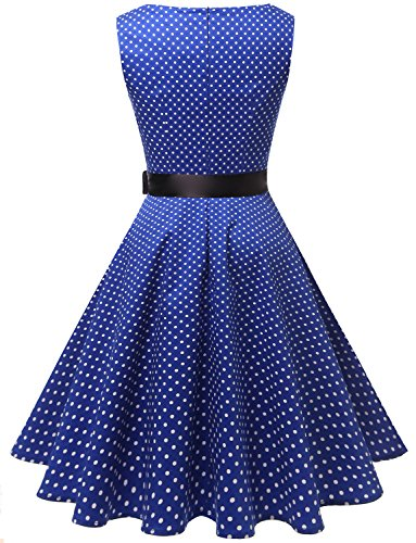 Elegante Hepburn Gardenwed Style Cocktail Audrey Robe Royal Small 60s Vintage Dot Blue 50s Rockabilly de Swing White WwfwEUqY