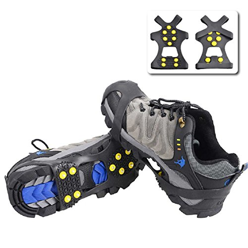 Triwonder Ice Grips 10 Teeth Anti-slip Shoe/Boot Ice Traction Slip-on Snow Ice Spikes Crampons Cleats Stretch footwear traction (M, Black)