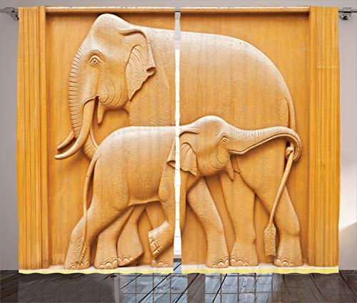 - Ambesonne Sculptures Decor Collection, Carved Wooden Mother and Child Baby Elephants African Animals Artistic Design, Living Room Bedroom Curtain 2 Panels Set, 108 X 90 Inches, Ivory Cream