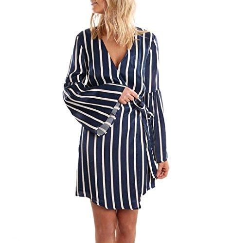 Streifen Loose Kleid DamenZEZKT Langarm Bandagre V Ausschnitt ...