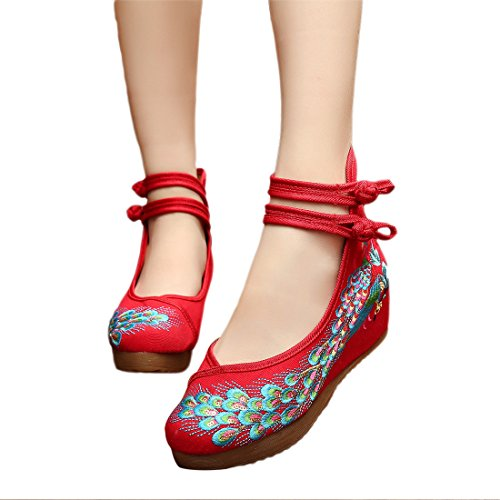 Womens Embroidered Ankle Red JTENGYAO Sport Casual Strap Chinese Shoes a161Txdn