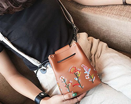 Boho Retro Floral Gift Bag Bag Women Girls Bucket LMMVP by Shoulder Crossbody Bag Simple Brown qtUZ8xAw