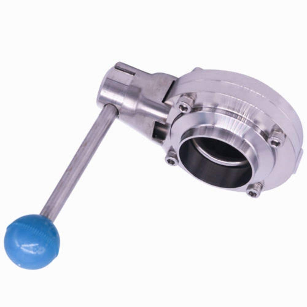 Butterfly Valve with Pull Handle Stainless Steel 304 Clamp Clover 1.5'' / 2'' Tube OD for Food, Beverage, Dairy, Cosmetics (1.5'')