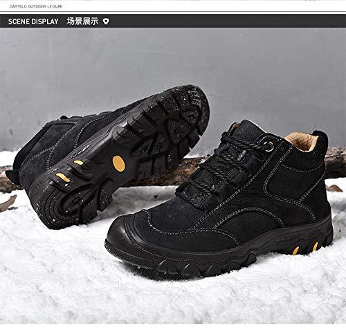 LOVDRAM Stiefel Männer Winter Große Große Winter Größe Herrenschuhe Outdoor Wanderschuhe Wasserdichte Lässige Hohe Schuhe Leder Dicke Warme Baumwolle Schuhe Schneeschuhe 93f509