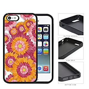 Pink And Orange Floral Painting iPhone 5 5s Silicone Cell Phone Case