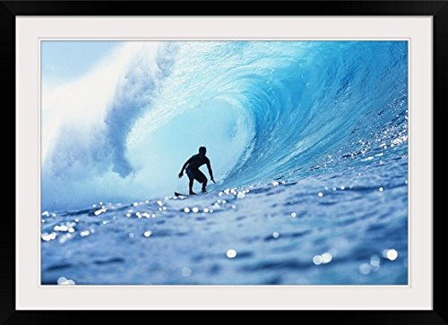 GreatBIGCanvas ''Hawaii, Oahu, North Shore, Silhouette Of Surfer In Pipeline'' by Vince Cavataio Photographic Print with Black Frame, 36'' x 24'' by greatBIGcanvas