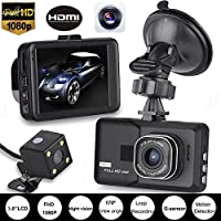 Dual Lens Vehicle Camera ZIYUO HD 1080P Car DVR,Vehicle Video Recorder with Rear camera,Car Dash camera with G-sensor