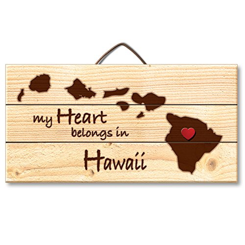 Hawaii Sign (Highland Woodcrafters Hawaii Laser Etched Pallet Wood State Sign with Heart Shaped Push Pin, 6 x 12 inch)