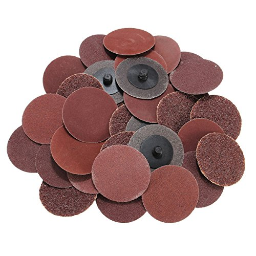 40pcs 2 Inch Roll Lock Sanding Disc 24/60/120/240 Grit Sandpaper by BephaMart