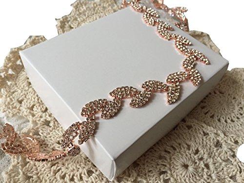 Style Rhinestone Belt (Leaf style rhinestones wedding sash bridesmaid sash formal dress sashes P05 (Rose gold))