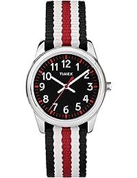 Boys TW7C10200 Time Machines Metal Black/Red Stripes Nylon Strap Watch