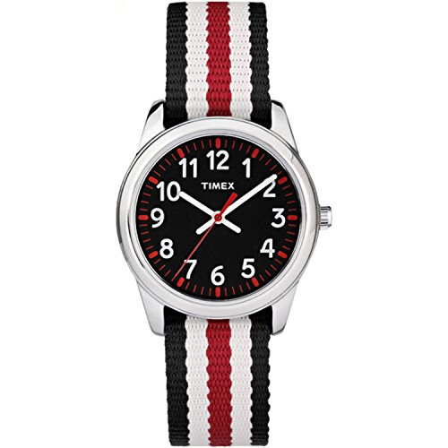Red Stripes Watch - Timex Boys TW7C10200 Time Machines Metal Black/Red Stripes Nylon Strap Watch