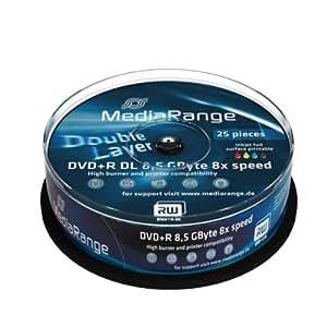 MediaRange - 25 DVD+R Doble Capa Imprimibles, 8.5GB de velocidad 8x