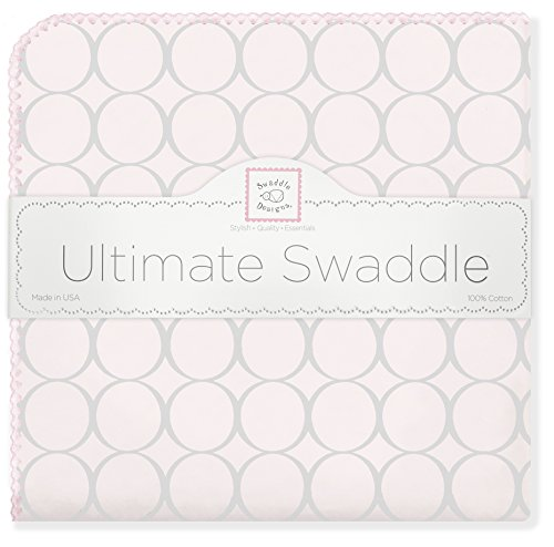 Mod Pink Circles (SwaddleDesigns Ultimate Swaddle Blanket, Made in USA Premium Cotton Flannel, Sterling Mod Circles on Sunwashed Pink)