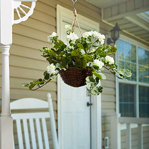 - Pure Garden Faux Flowers - White Geranium Hanging Natural and and Lifelike Floral Arrangement with Basket for Home or Office