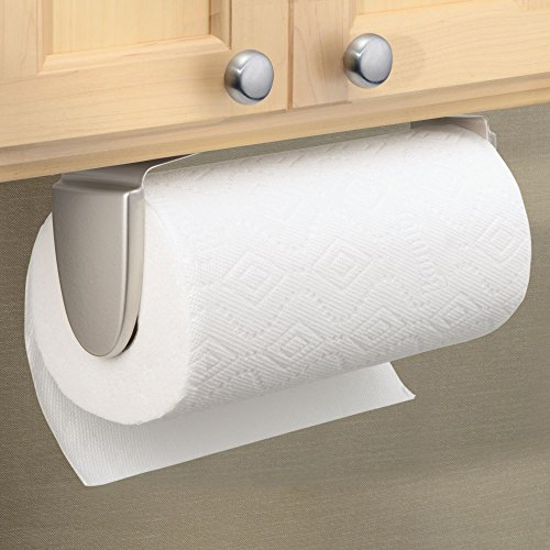 mDesign Wall Mount Paper Towel Holder & Dispenser, Mounts to Walls or Under Cabinets - for Kitchen, Pantry, Utility Room, Laundry and Garage Storage - Holds Jumbo Rolls, Pack of 2, Satin
