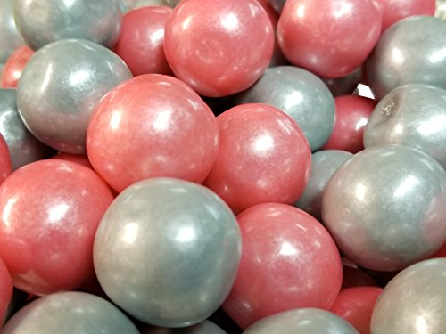 Gumballs Shimmer Pearl Pink And Silver Bubble Gum 2 Pounds 1 inch - Pink Gumball