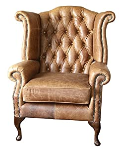 handmade queen anne high back wing chair in vintage tan leather