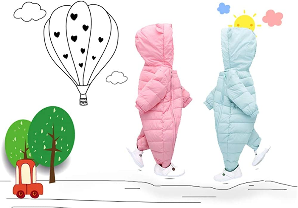 Pink,80 Dream/_mimi Baby Winter Candy Color Cartoon Hooded Ear Double Chain Thicken Cotton Coat