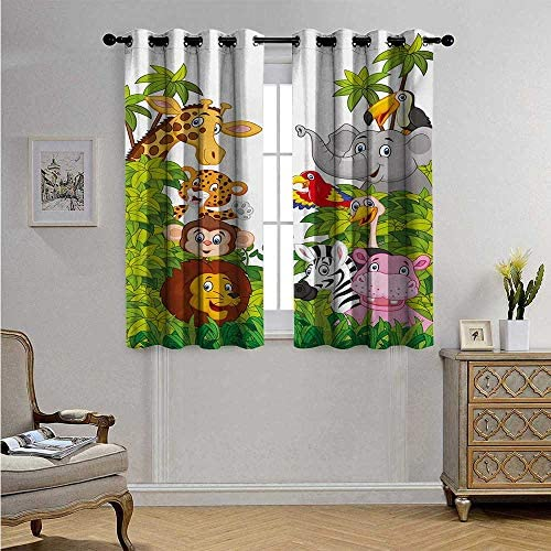 Nursery Window Curtain Drape Cartoon Style Zoo Animals Safari Jungle Mascots Collection Tropical Forest Wildlife Decorative Curtains for Living Room W55 x L63 Multicolor