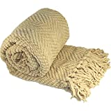 """BOON Knitted Tweed Throw Couch Cover Blanket, 60"""" x 80"""", Light Camel"""