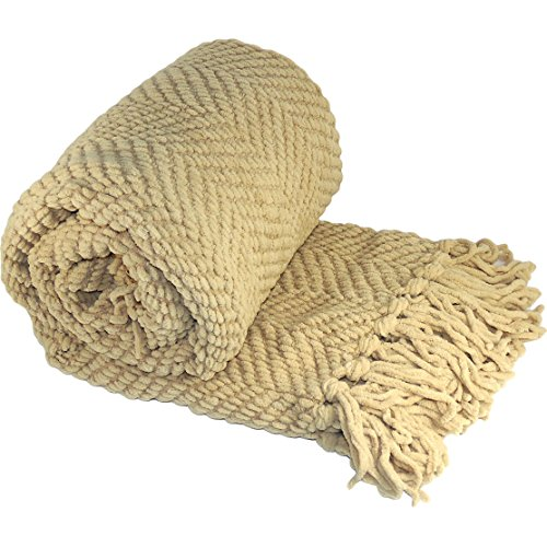 BOON Knitted Tweed Throw Couch Cover Blanket, 50 x 60, Light Camel