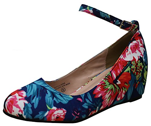 Cambridge Select Women's Ankle Strappy Buckle Round Closed Toe Wrapped Wedge,9 M US,Floral