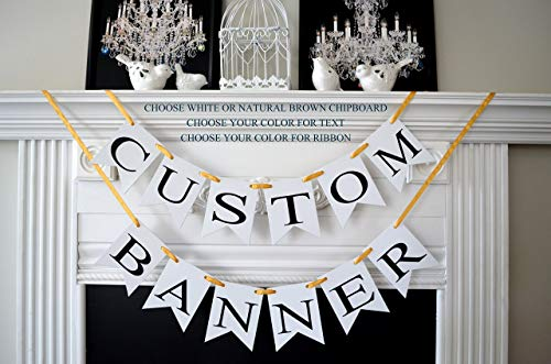 Custom Party Banner -personalized birthday baby shower anniversary wedding bridal shower baby announcement gender reveal retirement sweet 16 -