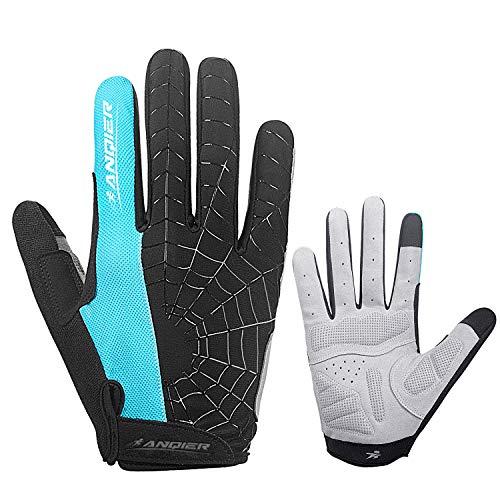 (Lanyi Cycling Gloves Bike Gloves Mens Womens Touch Screen Full Finger Shock-Absorbing Pad Anti-Slip Biking Gloves Mountain Climbing Bicycle Gloves (Blue,M))