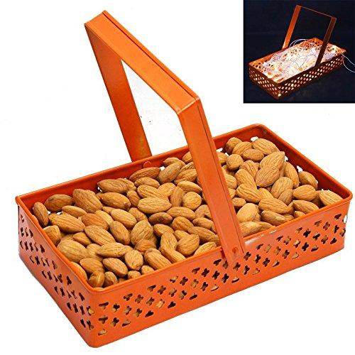 Ghasitaram Gifts Diwali Gifts Dry Fruits Hamper -Rectangle Orange Metal Basket with Almonds ()