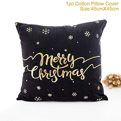 Price comparison product image JEWH 45x45cm Cotton Linen - Merry Christmas Cover - Cushion Christmas - Decorations for Home - Happy New Year - Decor 2019 Xmas Gifts - Style 11