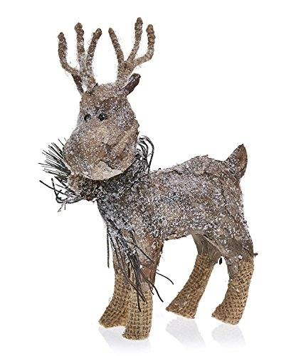 CC Home Furnishings Pack of 2 Country Rustic Prancer The Reindeer Snowy Birch Bark Christmas Table Top Decorations 9.75