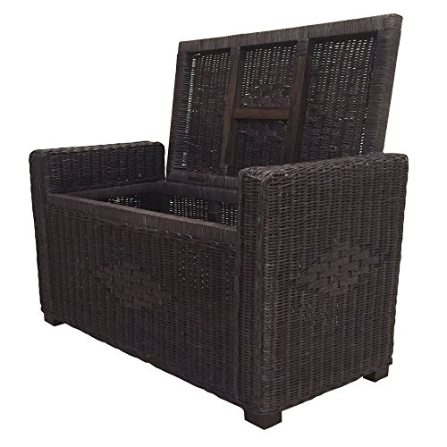 Rattan Chest Storage Ottoman model Adam with Cushion (Dark Brown) -