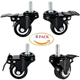 """DICASAL 2"""" Stem Casters, 10mm Screw Diameter Swivel Casters with PU Foam Quite Mute No Noise Casters Double Bearings and Locks Loading 330 Lbs with Brake Black Pack of 4 (Nuts Not Include)"""