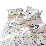 Cotton Flower Print Floral Pillowcases of 2 Kids Girls Pillow Shams Queen Home Decorative Pillow Covers Standard Reversible Pillowcases for Children Teens Adults, Envelope Closure, (2 Pieces, 20''×26'')