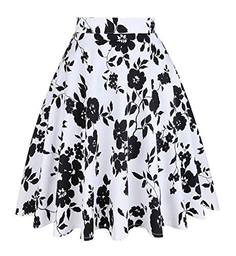Imprimes mi vases Jupes Femmes FASHION A Vintage Line Longues Blanc Florales DJT XwxZ0qCt