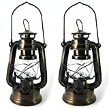 PK Green Set of 2 LED Hurricane Lamps | Vintage Storm Lantern Lights | Dimmable Battery Operated Retro Oil Lamps | Decorative Indoor Hanging/Table Lanterns for Home, Garden, Camping, Shed | Bronze