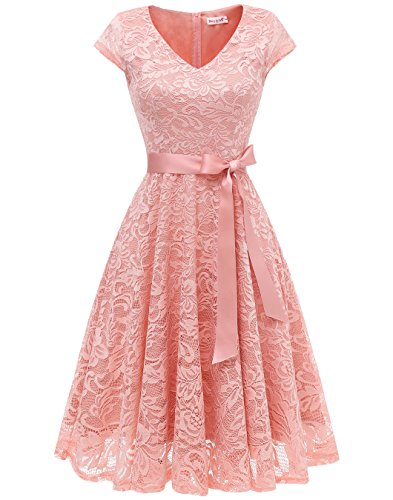 BeryLove Women's Floral Lace Short Bridesmaid Dress Cap Sleeve Cocktail Party Dress V Neck BLP7006Blush 2XL ()