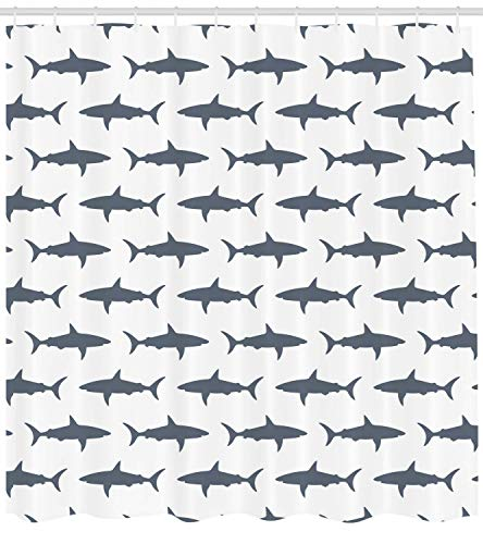 Ambesonne Sea Animals Shower Curtain, Sharks Swimming Horizontal Silhouettes Powerful Dangerous Wild Life, Cloth Fabric Bathroom Decor Set with Hooks, 70 Long, Charcoal Grey